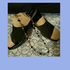 Black slide wedges Black wedges w/elastic uppers, worn a couple times, super comfy shoes, Size: 9 1/2 W By: Predictions Predictions Shoes Wedges