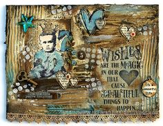 Layers of ink - Magic in our Hearts Canvas by Anna-Karin. Made for Simon Says Stamp Monday Challenge blog, 'H is for' challenge, using Ranger's paint, texture paste and tools, Tim Holtz stamps and embellishments.
