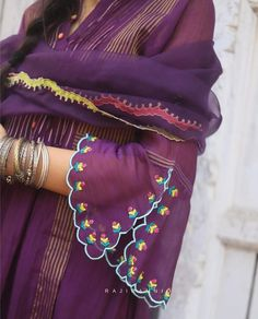 Bead Embroidery Patterns, Embroidery Suits Design, Kurta Neck Design, Blouse Neck Designs, Sleeves Designs For Dresses, Sleeve Designs, Lehenga Hairstyles, Phulkari Suit, Embroidery Suits Punjabi