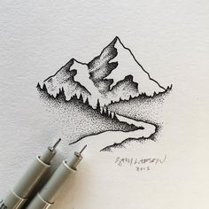 Small stipple drawing from today. 0.3 and 0.05 pen tips used. #art #illustration #mountains