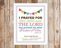 Bible Verse Birth Announcement Print by TheEducatedOwl on Etsy, $14.00