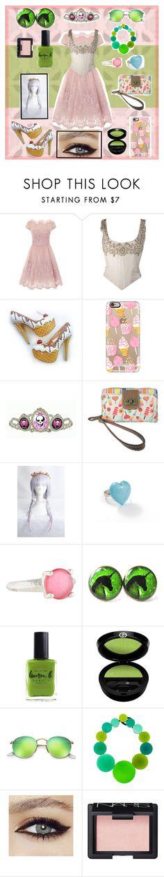 """Candy lover princess"" by chikyo-sama ❤ liked on Polyvore featuring Chi Chi, Casetify, Tarina Tarantino, UNIONBAY, Ippolita, Lauren B. Beauty, Armani Beauty, Ray-Ban, Monies and NARS Cosmetics"