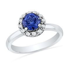 Sterling Silver Blue Sapphire and Round Diamond Engagement Ring (1 Cttw) (8) ** Awesome product. Click the image : Engagement Rings