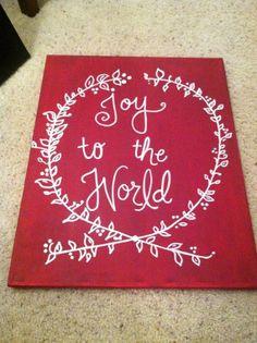 Joy to the World Christmas Canvas on Etsy, $35.00