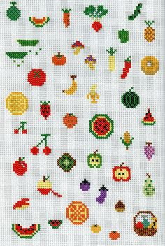 Cross stitch fruits and veggies