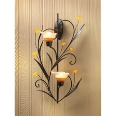 Zingz and Thingz Lilies Candle Wall Sconce in Amber Lilies