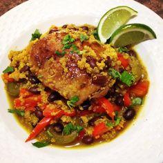 Cuban Chicken with Black Bean Quinoa #healthy #dinner #recipe