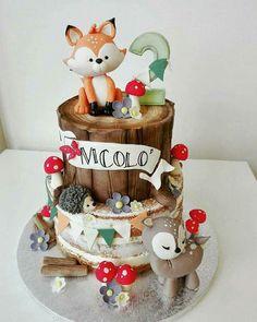 27 super Ideas for birthday cake fondant boy cupcake Bolo Nacked, Fox Cake, Cake Decorating Designs, Woodland Cake, Woodland Forest, Woodland Party, Cupcakes For Boys, Baby Shower Cakes For Boys, Forest Cake