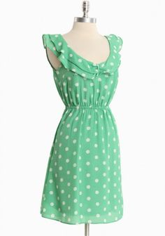 Afternoon Engagement Ruffle Dress In Green | Modern Vintage Dresses