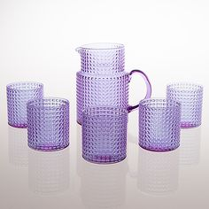"""KAJ FRANCK - Glassware """"Ruuturitari"""" series, glass pitcher and a set of drinking glasses, Nuutajärvi Notsjö Finland. Height of the pitcher 16 cm, height of the glasss 8 cm. Glass Pitchers, Home Design, Interior Design, Glass Design, Home Decor Inspiration, Household Items, Home Kitchens, Interior And Exterior, Home Accessories"""