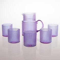 "KAJ FRANCK - Glassware ""Ruuturitari"" series, glass pitcher and a set of drinking glasses, Nuutajärvi Notsjö Finland. Height of the pitcher 16 cm, height of the glasss 8 cm."