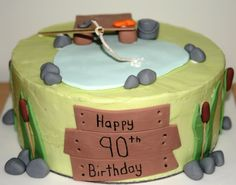 90th Birthday cake - gone fishing!  facebook.com/fromcarolineskitchen