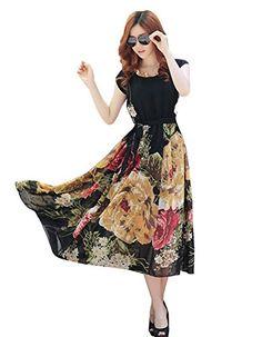 Damen Boho Maxi lang Chiffon Stretch Strandkleider vintage Sommerkleid