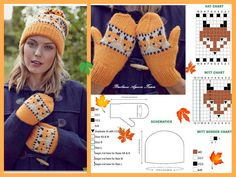 Fox hat&mittens Mittens Pattern, Knit Mittens, Knitted Gloves, Knitting Socks, Baby Boy Knitting Patterns, Knitting Charts, Knit Crochet, Crochet Hats, Beaded Cross Stitch