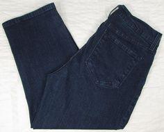 NYDJ Capri Cropped Jeans Dark Wash Mid Rise Whisking Rhinestone Hem sz 8 EUC