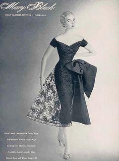 An elegant Mary Black evening dress, 1954, from Harper's Bazaar. #vintage #fashion #1950s