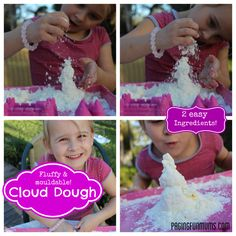 Cloud Dough -Here's a FUN sensory dough that's crumbly yet mouldable - it's easy to make with just two ingredients!