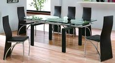 dining room glass tables small glass dining room table explore and share images Glass Dining Room Table, Dining Table Legs, Dining Table Design, Dining Room Lighting, Dining Room Chairs, Table And Chairs, Glass Tables, Contemporary Dining Sets, Esstisch Design