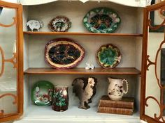 Antique Majolica Plates and Platters   $45 to $100 Each  Shabby Chic Dallas  Booth #477  Forestwood Antique Mall 5333 Forest Lane Dallas, TX 75244