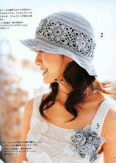 Blue Hat with Flower Motifs Hat free crochet graph pattern