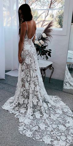 36 Lace Wedding Dresses That You Will Absolutely Love ❤ lace wedding dresses straight low back spaghetti straps with train boho grace loves lace ❤ See more: http://www.weddingforward.com/lace-wedding-dresses/ #weddingforward #wedding #bride