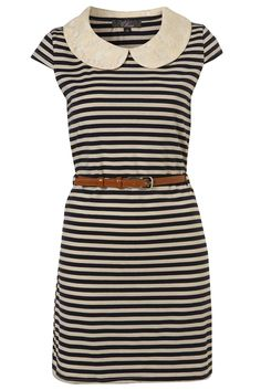 Topshop navy blue striped shift dress with lace Peter Pan collar and brown waist belt by Rare £14.00