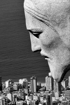 Brésil, vu par le Christ! Face detail, Christ the Redeemer, Rio de Janeiro.#Brazil #RiodeJaneiro.