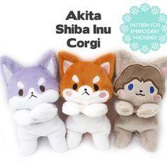 Shiba Inu, Akita, Machine Embroidery Patterns, Sewing Patterns, Diy Embroidery, Sewing Ideas, Sewing Projects, Plushie Patterns, Perler Patterns
