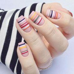 Fancy Nails Designs, Elegant Nail Designs, Simple Nail Art Designs, Elegant Nails, Stylish Nails, Striped Nail Designs, Floral Designs, Cute Nails, My Nails