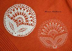 Design by Anna Radaeva. Crochet Motif Patterns, Form Crochet, Crochet Round, Crochet Chart, Crochet Home, Thread Crochet, Irish Crochet, Crochet Stitches, Crochet Circles