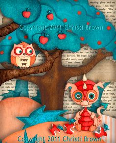 Dragon Baby and Owl Nursery Art Print Recycled Paper for boys or girls matted for 11 x 14 teal red. $35.00, via Etsy.