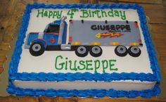 Big Rig Tractor Trailer Birthday Cake