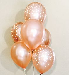 This is a perfect Color Combination for a Bridal Shower, any Classy event or Brunch or any fun Occasion! The listing includes a set of 6 Balloons with an mix of the following colors: * 3 Rose Gold Confetti Dot Look Latex * 3 Rose Gold PLEASE NOTE: These balloons are packaged as a set Gold Confetti, Color Combinations, Latex, Bridal Shower, Balloons, Brunch, Pearl Earrings, Classy, Rose Gold