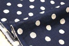 Japanese Fabric  Linen Spots  navy blue by MissMatatabi on Etsy
