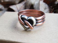 Copper and Silver Heart Ring by TheTimaCollection on Etsy Copper Rings, Copper Jewelry, Silver Rings, Copper Work, Aged Copper, Penny Jewelry, Designer Earrings, Ring Designs, Heart Rings