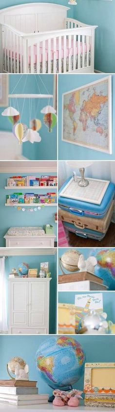 Travel nursery theme. With air balloons as mobile, globes, maps, luggage night stand & lots of books :)