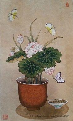 연꽃 구경- 창작 연화도 1 어제, 오늘 수능 100일 기도를 하러 북한산 아래 진관사에 가고있어요.... Korean Art, Asian Art, Japanese Prints, Japanese Art, Chinese Painting, Chinese Art, Lotus Flower Art, Tibetan Art, Still Life Art