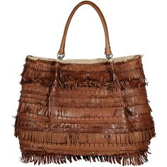 ERMANNO SCERVINO Cognac Leather Fringed Bag (83.105 RUB) ❤ liked on Polyvore featuring bags, handbags, purses, bolsas, brown leather tote, brown tote bags, brown leather handbags, cognac leather tote and brown tote