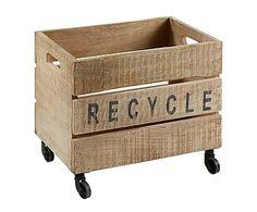 Caja con ruedas en madera de mango Recycle - 46x40 cm