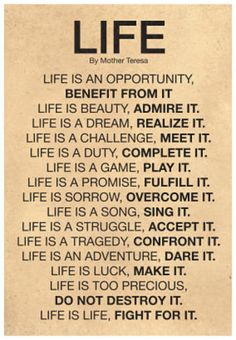Mother Teresa Life Quote Poster Poster