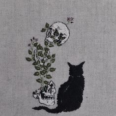 Stitching the Macabre - Art by AdipocereAdipocere is a fabric artist who creates contemporary art embroidery portraits. The work of Adipocere is dark, featuring bats, gothic girls, and skulls often with bloody imagery.  In addition to tattoos, Adipocere recently stitched a design into her skin.  You can find the work of Adipocere for sale at bigcartel.com. Thanks to fallendragone!In the mood for something different?  Check out the Cross Connect Facebook Page.Posted by Lisa.
