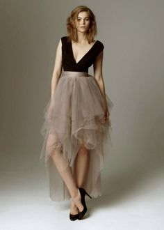 Little black dress with long tulle skirt - glamour version from 2015 Evening Collection by Sylwia Kopczynska