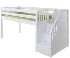 Maxtrix GREAT low loft bed with staircase White finish in twin size kid's bed with blue and white castle style tent model GREAT-WP Matrix kids furniture