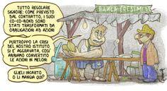 Scandali e patteggiamenti: Bassa Finanza #2 (rubrica di Mauro Meggiolaro). Vignetta per Banca Etica