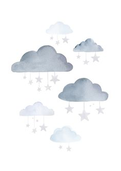 Would be an awesome tatt! MakeForGood Watercolour Clouds and Stars in by BillyandScarlet Cute Illustration, Watercolor Illustration, Clouds And Stars Tattoo, Baby Decor, Nursery Decor, Star Tattoos, Cloud Tattoos, Tatoos, Watercolor Clouds