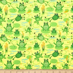 Timeless Treasures Organic Frogs Yellow from @fabricdotcom  From Timeless Treasures, this cotton print fabric is perfect for quilting, apparel and home decor accents. Colors include yellow, aqua, gold, black and shades of green. This fabric is OE 100 Certified Organic.