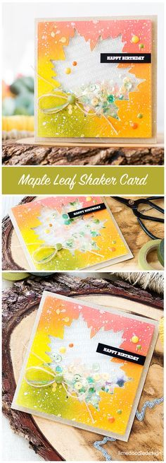 Maple Leaf Autumn Shaker Card