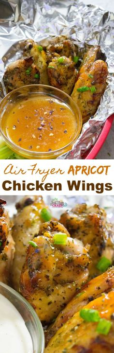Air fryer chicken wings with a sweet yet savory apricot sauce are perfect for barbecues, game days and even afternoon snacks. Chicken Wing Recipes, Healthy Chicken Recipes, Healthy Cooking, Delicious Recipes, Air Fryer Recipes Videos, Lunches And Dinners, Meals, Easter Side Dishes, Apricot Chicken