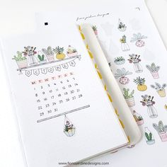 Plant Printable Planner Stickers, Decorative Floral Bullet Journal Stickers, Printable Stickers for Decorating Daily Planner Layouts A layout my Travelers Notebook for the month of October using printable stickers from my Etsy Shop. Bullet Journal Stickers, Bullet Journal Notebook, Bullet Journal Spread, Bullet Journal Ideas Pages, Bullet Journal Layout, Bullet Journal Inspiration, Notebook Stickers, Bullet Journals, Planer Layout