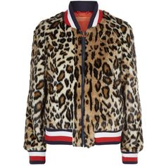 Hilfiger Collection Leopard Faux Fur Bomber Jacket ($730) ❤ liked on Polyvore featuring outerwear, jackets, bomber style jacket, style bomber jacket, zipper jacket, faux fur jacket and flight jackets